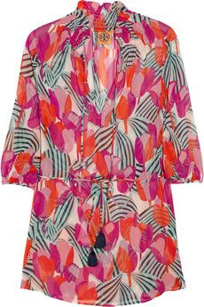 Tory Burch  Printed silk-chiffon shirt dress