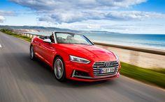 Lataa kuva Audi S5 Cabriolet, 4k, 2017 autot, tie, punainen s5, saksan autoja, Audi
