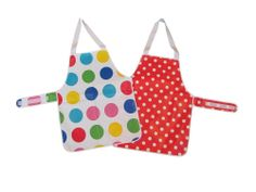 Children's PVC Fabric Cooking Apron with Velcro Fastening Waist Straps White with Large Multi Colour Spots) Pvc Fabric, Sewing Notions, Apron, Projects To Try, Colour, Cooking, Color, Kitchen, Brewing