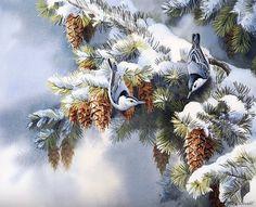 [EndLiss scans - Wildlife Art] Susan Bourdet - First Snowfall - Nuthatches