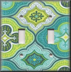 Light Switch Plate Cover - Turquoise Blue And Green Boho Design - Home Decor