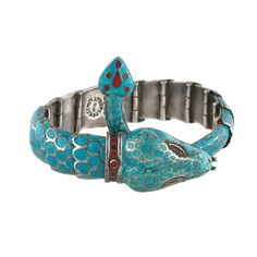 Mexican Sterling and Blue Enamel Snake Bracelet, ca. 1950's-60's
