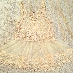 Vintage style crochet lace cream sheer tank 🎀 Beautiful vintage style crochet tank, see through, never worn ! Tags removed and just sat in my closet. Tops Tank Tops
