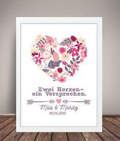 Weiteres - DIN A3 KUNSTDRUCK '2 Herzen' Hochzeitstag - ein Designerstück von wandzucker bei DaWanda