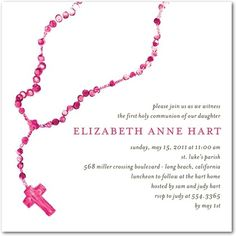 Painted Rosary: Begonia - Communion Invitations in Begonia | Hello Little One