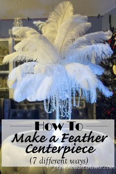 DIY: How To Make Feather Centerpieces (plus 7 variations) I have used different variations of these DIY ostrich feather centerpieces instead of floral arrangements at all kinds of wedding receptions and parties.a Great Gatsby party, Winter Wonderland Ostrich Feather Centerpieces, Floral Centerpieces, Feather Wedding Centerpieces, Winter Wonderland Centerpieces, Centrepieces, Great Gatsby Themed Party, 1920s Party Themes, Harlem Nights Theme Party, 1920 Theme