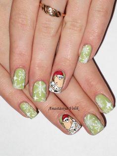 #Nail #Nails #Nail-art #design #Ногти #Маникюр #Идея_для_маникюра  #новогодний маникюр #роспись #зимний маникюр #овечка на ногтях #снежинки на ногтях