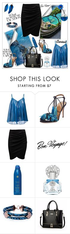 """Capri Travel Outfits"" by frane-x ❤ liked on Polyvore featuring Roberto Cavalli, Aquazzura, Tim Holtz, Soleil Toujours, Vince Camuto and Opes Robur"