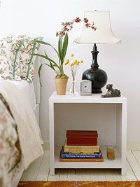 Bed side table diy project (think I would add an extra shelf though...)