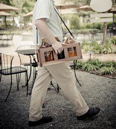 Wood Beer Growler Carrier