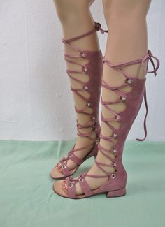 Vintage 60s 70s high Gladiator's go go shoes boots sandals pink sued real by jolyyy