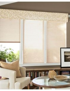 "2"" Horizontal Sheer Shadings in 12561 Honey Layered with Corner Pleat Fabric Valance in 14682 Spring Leaves/ Ivory"