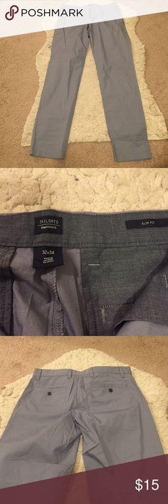"34"" Long Tailored Slim Fit Grey Khakis Slim fit Gap khakis, a light slate/blue grey color. Great condition. 32x34. GAP Pants Chinos & Khakis"