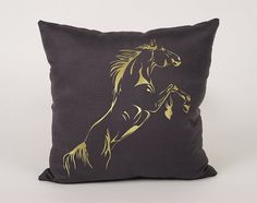 Horse Cotton Throw Pillow Cover  16x16 18x18 20x20 by Daneeyo
