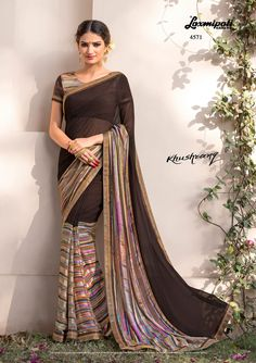 Choose this Alluring Black Colored Jute #Georgette_Saree and Multicolor #Bhagalpuri Printed Blouse along with Satin Silk Lace Border Online 🛒@ www.laxmipati.com  #Catalogue-KHUSHRANG Designnumber- 4571 #Price - ₹ 1917.00  #CashOnDelivery #OrderOnline #FreeDelivery #KHUSHRANG0317 #Oekotex #Laxmipatisarees Laxmipati Sarees, Georgette Sarees, Indian Sarees, Indian Dresses, Indian Outfits, Indian Clothes, Printed Sarees, Printed Blouse, Casual Saree