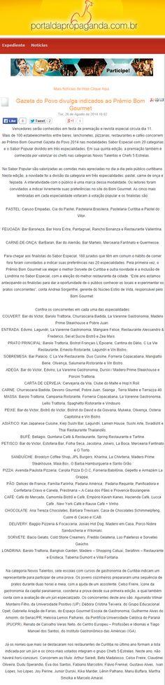Portal da Propaganda (26/08/2014) Gazeta do Povo divulga indicados ao Prêmio Bom Gourmet