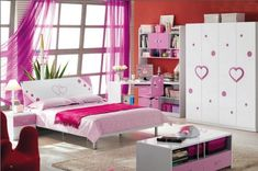 Awesome Small Space Girl Bedroom With Beautiful Purple Window Curtain And Style Modern Bright Pink Complete With Double Cushions Plus Charming Pink Blanket Also Nice White Mixed Purple Wood Bedside Table On White Floor