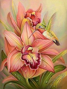 Orchid and Hummingbird China Painting, Tole Painting, Fabric Painting, Painting & Drawing, Art Floral, Russian Art, Bird Art, Painted Rocks, Flower Art