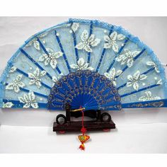 a lot of 3 blue lace white floral bridal wedding party hand fan fans sku