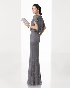 Long column dress with silk muslin bodice, off-the-shoulder sleeves and lace skirt, in smoke, navy blue and steel.