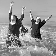 Nuns From The Order Of St. Benedict Make A Splash In The Pacific Ocean While Vacationing At Grayland, 1960