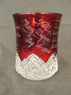 1905 Etched Ruby Glass w/ the Lords Prayer Souvenir Glass EAPG