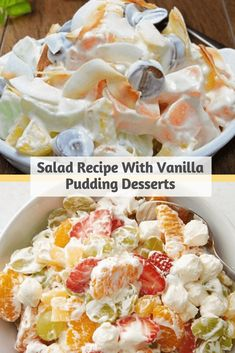 Instant Vanilla Pudding Fruit Salad Recipe use either fresh, canned, or frozen fruit in this simple fruit salad Frozen Fruit Salads, Fresh Fruit Desserts, Fruit Salad Making, Dressing For Fruit Salad, Best Fruit Salad, Fruit Salad Recipes, Jello Salads, Frozen Desserts, Dessert Recipes