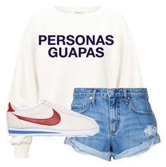 """""""PAULA GONU LOOK #PERSONASGUAPAS"""" by luciacasal2004 on Polyvore featuring moda, Miss Selfridge, Nobody Denim y NIKE"""