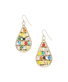Another great find on #zulily! Gold & Green Beaded Teardrop Earrings #zulilyfinds