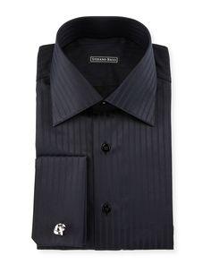 Tonal-Striped French-Cuff Dress Shirt, Black