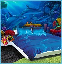 Home:Bedroom Dekoration Ozean Thema Schlafzimmer Underwater Bedroom, Ocean Bedroom, Underwater Theme, Mermaid Bedroom, Bedroom Wall, Girls Bedroom, Bedroom Decor, Dolphin Bedroom, Nautical Theme Bedrooms