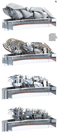Sectional renders of Fondation Louis Vuitton by Gehry Partners #frankgehry #frank #gehry #paris