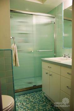 Retro aqua bathroom remodel--my favorite! Rebecca's mid-century bathroom remodel using Nemo tiles -- mud set! - Retro Renovation