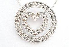 Signed Fas Sterling Silver Circle Heart Diamond Estate Necklace Vintage 925 | eBay