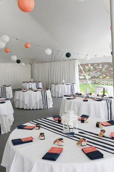 Simple preppy, nautical outdoor wedding reception decor idea - white linens, navy and coral accents {Maine Tinker}