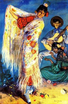 The Spanish passions. Spanish Gypsy, Spanish Dancer, Gypsy Girls, Dance Paintings, Flamenco Dancers, Art Archive, Chiaroscuro, Andalusia, Lovers Art