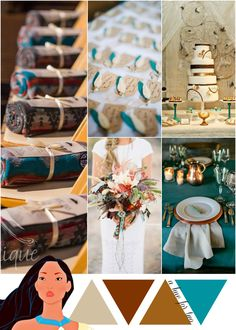 Copper, Gold and Teal Metallic Wedding Color Scheme - Pocahontas Theme Wedding - Disney Weddings - A Hue For Two | www.ahuefortwo.com