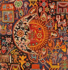 Huichol Sun and Moon:  This Huichol work of art is done in the yarn painting style, but the designs are created with seed beads impressed in wax rather than yarn or Threas. Popular Arts Museum, Mexico City