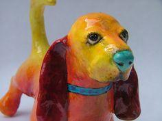 https://flic.kr/p/7czooB | Vixie | Paper Mache Dog Sculpture