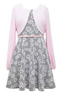 bac980040f8 Girls Plus Pink Grey Belted Floral Knit Jacquard Fit Flare Dress Jacket Set