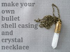 Learn how to make this easy DIY shell casing necklace. I walk you through this DIY bullet shell casing necklace tutorial, showing different methods of how to drill a hole in a casing. Bullet Casing Jewelry, Bullet Necklace, Diy Necklace, Bullet Shell Jewelry, Crystal Necklace, Diy Bullet Earrings, Necklace Tutorial, Crystal Pendant, Collar Necklace