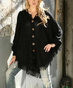 Love this Black Button-Up Poncho by SR Fashions on #zulily! #zulilyfinds