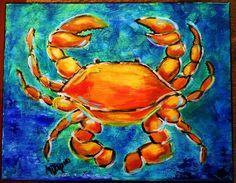 Orange Crab art painting ocean beach seafood nautical canvas seaside canvas. $44.00, via Etsy.