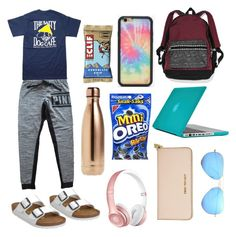 """""""road trip :)"""" by kwindham25 ❤ liked on Polyvore featuring Victoria's Secret, Hanes, Birkenstock, Speck, Wildflower, S'well, Ray-Ban and Michael Kors"""