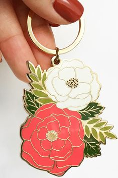 Never lose your keys again. This brass and enamel keychain is perfect for all flower lovers and makes a great stocking stuffer idea or a birthday gift for her. Creative Christmas Gifts, Christmas Gifts For Friends, Birthday Gifts For Her, All Flowers, Best Friend Gifts, Small Gifts, Unique Gifts, Peonies, Handmade Gifts