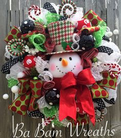 Snowman Wreath Snowman Decor Snowman Door by BaBamWreaths on Etsy
