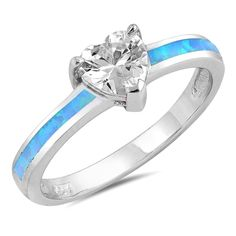 Gorgeous New Product - Personalized Sterling Silver with Blue Opal and Heart CZ Ring - http://www.forevergifts.com/personalized-sterling-silver-with-blue-opal-and-heart-cz-ring/
