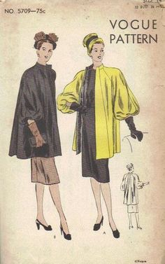 Must make this coat! The sleeves are fab! 1940s Glamour Swing Coat Vogue Sewing by AdeleBeeAnnPatterns