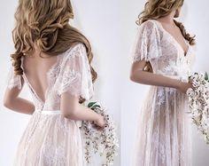 Lace Wedding Dress/ Unique Wedding Dress/ Boho Wedding Dress/ Wedding Dress with sleeves/ Beach Wedding Dress/ Open back dress