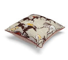 "Finish Hermes decorative pillow. 100% printed cotton. Measures 17 x 17"".<br><br><span style=""color: #F60;"">This item may have a shipping delay of 3-5 days.</span><br><br>"